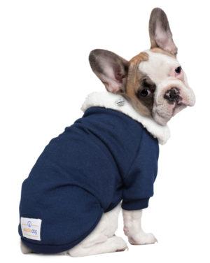 Roupa Moletom para cachorros azul gola carneirinho – Coroa