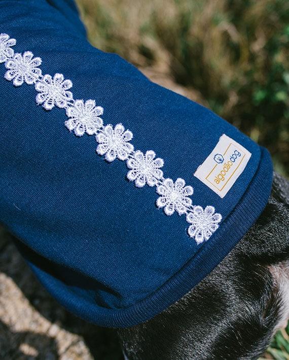 Moletom para cachorro azul com renda
