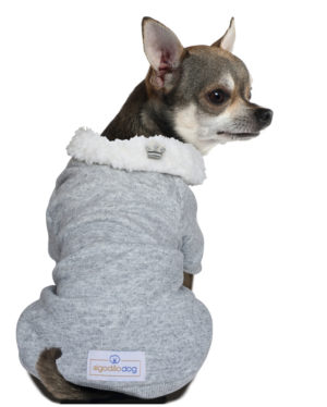Roupa Moletom para cachorros cinza gola carneirinho – Coroa