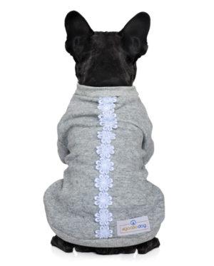 Roupa Moletom para cachorros cinza com renda