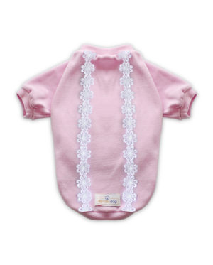 Roupa Blusa Plush Rosa estilo moletom para cachorros – Rendas