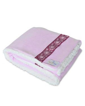 Cobertor para cachorro rosa renda